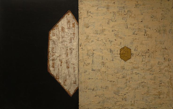 Mulasics László: Északi szél / North Wind, 1988, 70 x 110 cm, enkausztika, aranyfólia, papír, vászon / encaustic, golden-foil, paper, canvas