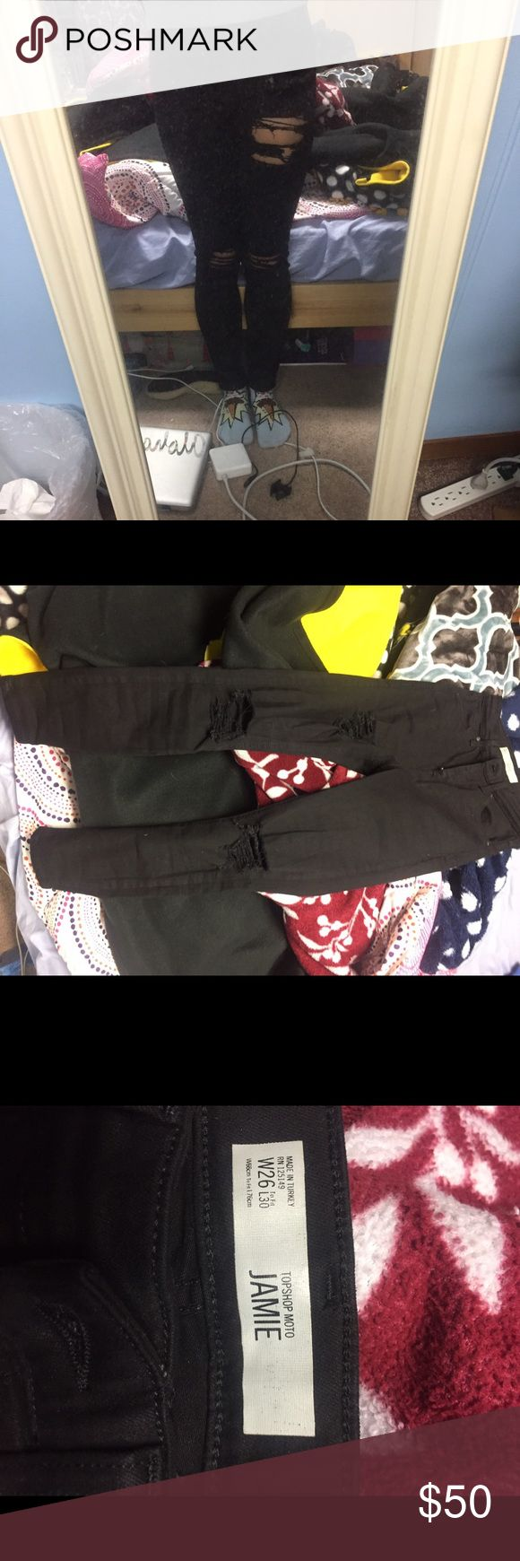 Topshop distressed black jeans Worn once. Size 26/30. Can get in the store still for $80. TRYING TO GET RID OF THESE FAST! Topshop Pants Skinny