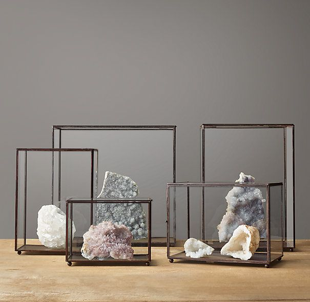 Metal and Glass Display Case Collection via restoration. vessels for airplants OR candles. height + still keeping sightline open.