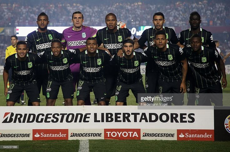 The team of Atletico Nacional lines up during semifinal first leg match of Copa Bridgestone Libertadores between Sao Paulo and Atletico Nacional at Morumbi Stadium on July 6, 2016 in Sao Paulo, Brazil.
