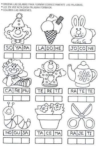 Ordenar sílabas para escribir y leer la palabra correcta a cada imagen