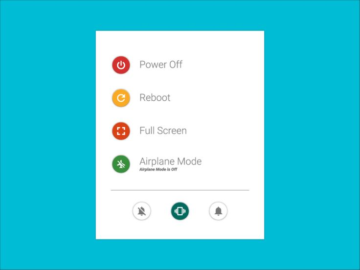 Material Design Power Menu designed  by Igor Silva