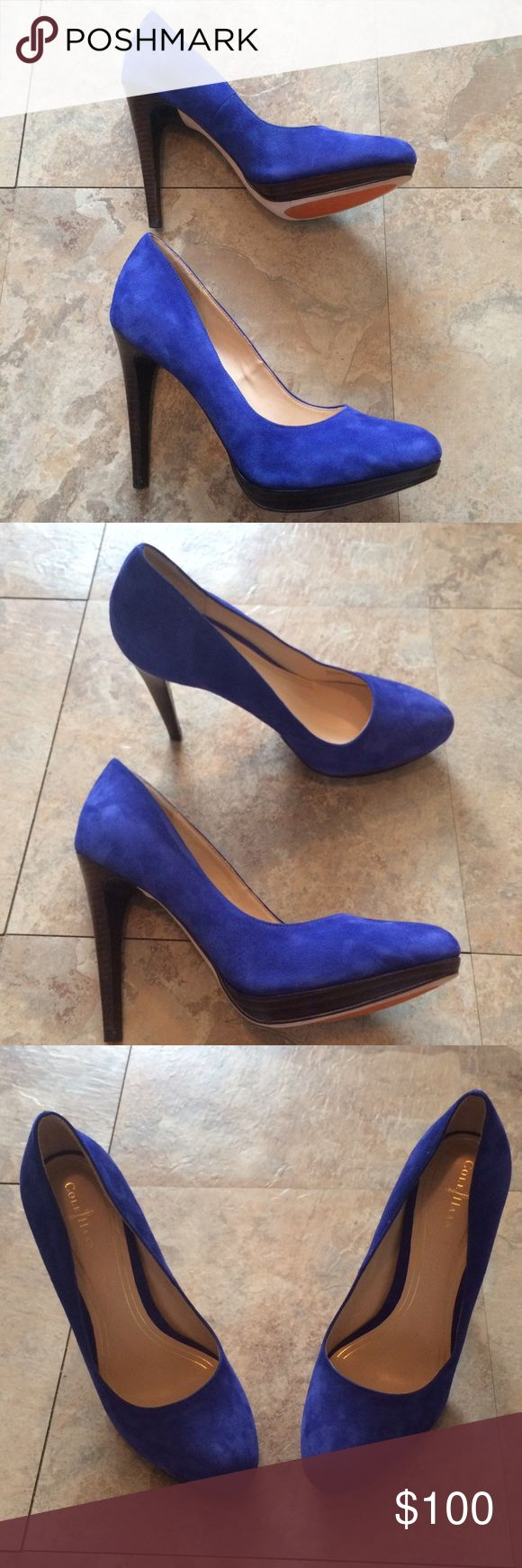 Cole Haan Nike Air Blue Suede Pumps Cole Haan blue suede pumps with Nike Air technology that cushions foot. Wood heel and platform, 3.75 inches with platform. Very comfortable, especially considering the height. Never worn and no signs of wear. Cole Haan Shoes Heels
