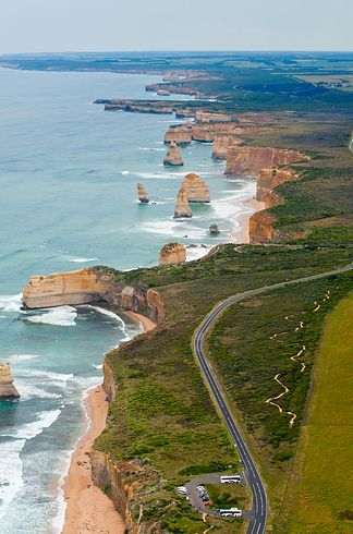 "Great Ocean Road, Victoria, Australia / The Great Ocean Road was built by returned soldiers between 1919 and 1932 and is dedicated to those killed during World War I, making the road the world's largest war memorial. The road passes by many famous natural landmarks, including the famous limestone formations known as the ""Twelve Apostles."""