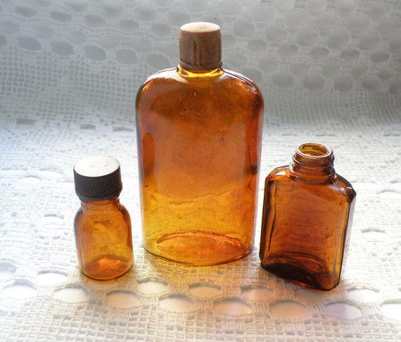 Vintage amber glass jars. Set of 3 glass от SouvenirFromUkraine