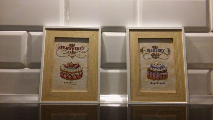 strawberry cake, cross stitch food pattern, kitchen