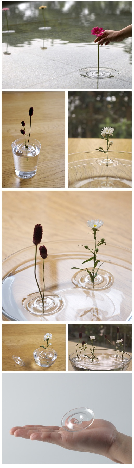 Flowers in vase change water - Floating Ripple Vases By Oodesign Art Design Flowers Fill Your Favorite Container With