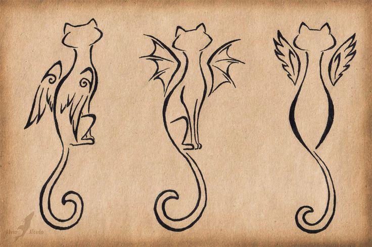 Cat Outline Tattoo Designs