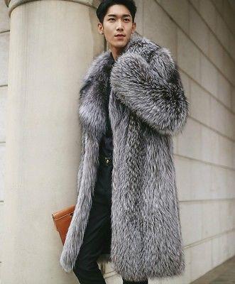 Silver Fox Men Faux Fur Long Sleeves Coat Outwear Warm Jacket Overcoat Winter   eBay