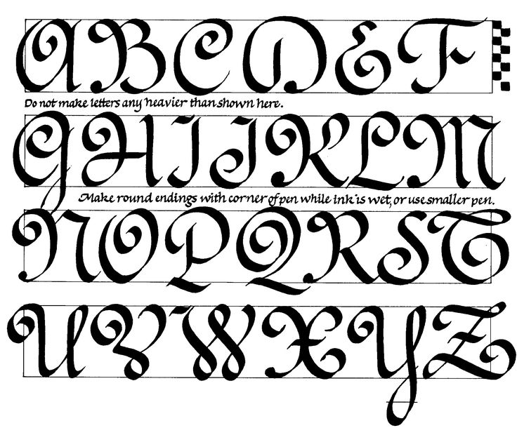 The capitals for Ronde, a popular French calligraphy style from the 18th century.