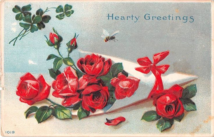 Bee by Beautiful Red Roses & Four-Leaf Clovers - 1911 Postcard