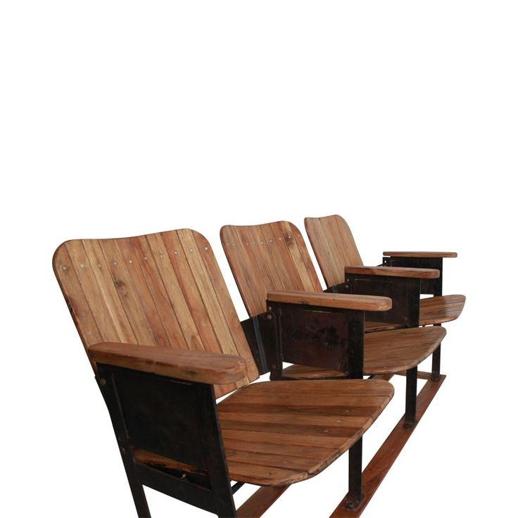 Original 3er-Kinosessel aus Holz / Original cinema seats from wood, 3 pcs. Schaffen Sie Kino-Feeling in Ihrer Lounge oder auf dem Balkon. Der originale 3er-Kinosessel macht sich gut als ausgefallene Sitzbank. AVAILABLE AT The Harrison Spirit, Morgartenstrasse 22, 8004 Zürich