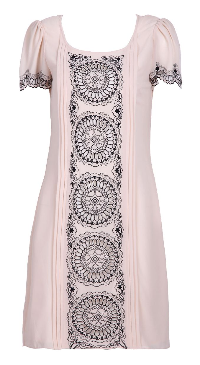 Apricot Short Sleeve Laser Out Embroidery Circle Print Dress