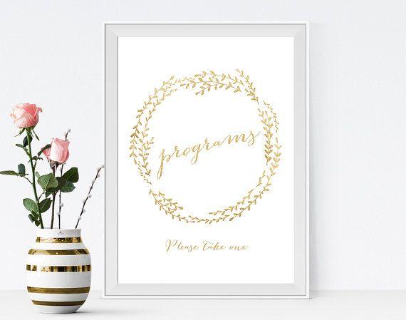 wedding program sign gold program sign by pinkdahliaprintable