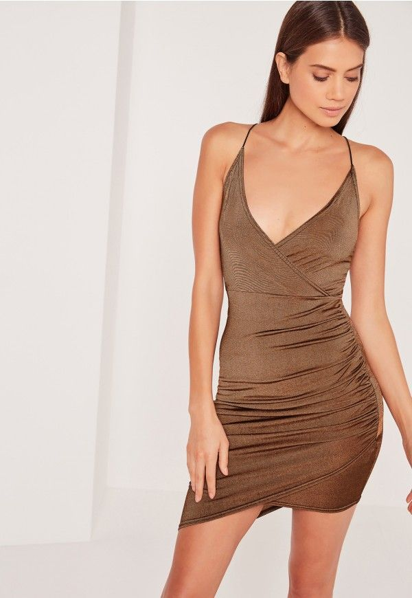 Petite Strappy Wrap Bodycon Dress Brown - Missguided