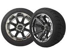 Set of (4) Golf Cart/GEM Car 215/40-12 Street Tire w/ 12x7 BLACK CHROME Wheels
