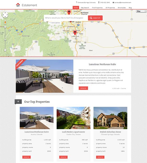 This real estate WordPress theme offers map searching with customizable proximity, a featured properties slider, Twitter and properties widgets, unlimited colors, advanced property management features, SEO-friendly code, and more.