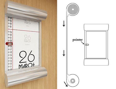 La date et l'heure sont imprimées sur le rouleau de papier qui sera rembobiné avec le temps par un mouvement d'horlogerie. Un calendrier assez design et un concept original pour affiche…