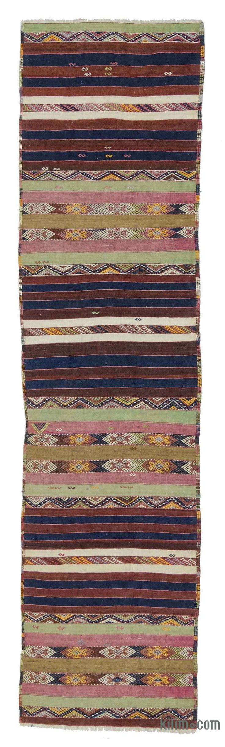 Vintage Malatya kilim runner rug embroidered with jijims. This piece is handwoven in 1940's and in very good condition. Malatya, a Turkish town in eastern Anatolia, is a kilim production center where good quality weavings are made.