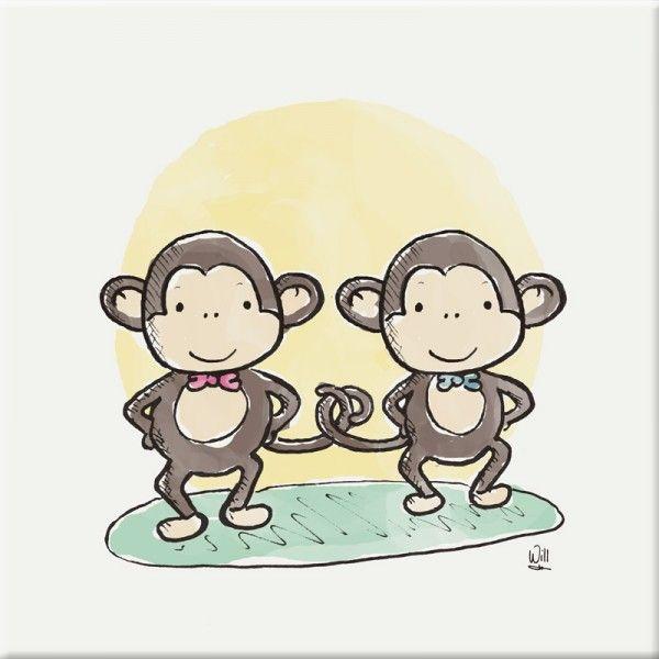 schilderij kinderkamer aap