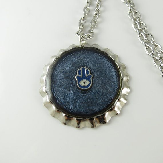 Hamsa Hand Painted Resin Handmade Pendant Silver by ChaoticBliss
