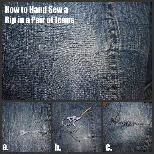 3 Ways to Mend Holes in Blue Jeans | The Happy Housewife™ :: Home Management