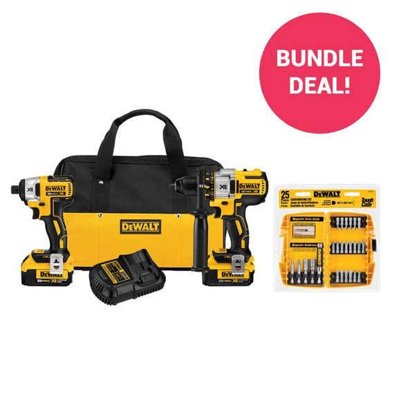 Dewalt 20V MAX Cordless Lithium-Ion Brushless Hammer Drill and Impact Driver Combo Kit WITH Dewalt 25-Piece Screwdriving Bit Set with Tough Case