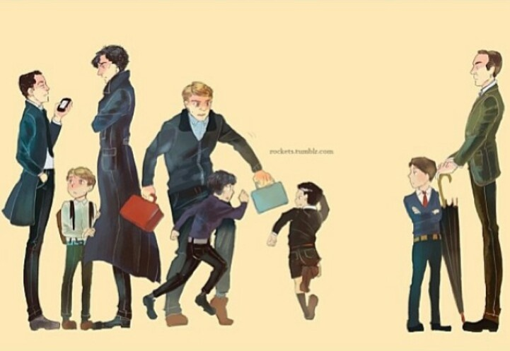 THIS IS TOO PERFECT: (Left to right) ~ Jim Moriarty ~ John's son ~ Sherlock Holmes ~ John Watson ~ Sherlock's son ~ Jim's son ~ Mycroft's son ~ Mycroft Holmes