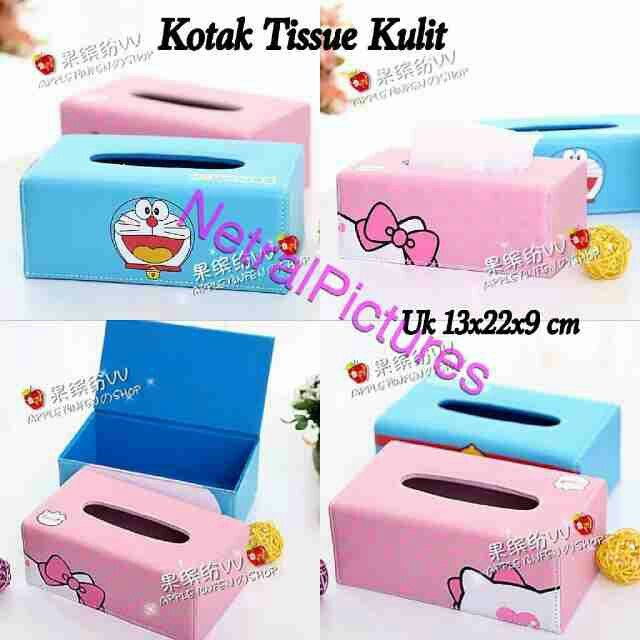 kotak #tissue #hellokitty & #doraemon bhn kulit @ 90.000