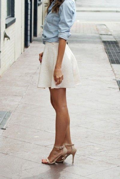 chambray shirt   white skirt combo