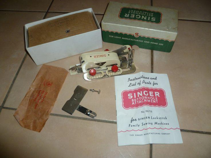 vintage singer sewing machine buttonhole attachment