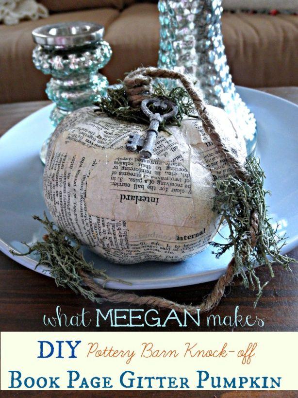 Dollar store pumpkin: DIY Pottery Barn Knock-off Glitter Book Page Pumpkin