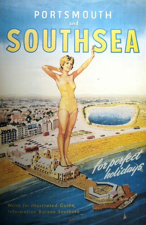 Portsmouth and Southsea (England, U.K.) Vintage travel beach poster. ca 1950 www.varaldocosmetica.it/en