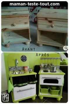 DIY : fabriquer une cuisine pour enfant avec deux tables de chevet ? Je l'ai fait, c'est pas si compliqué, très économique. Photos et explications.