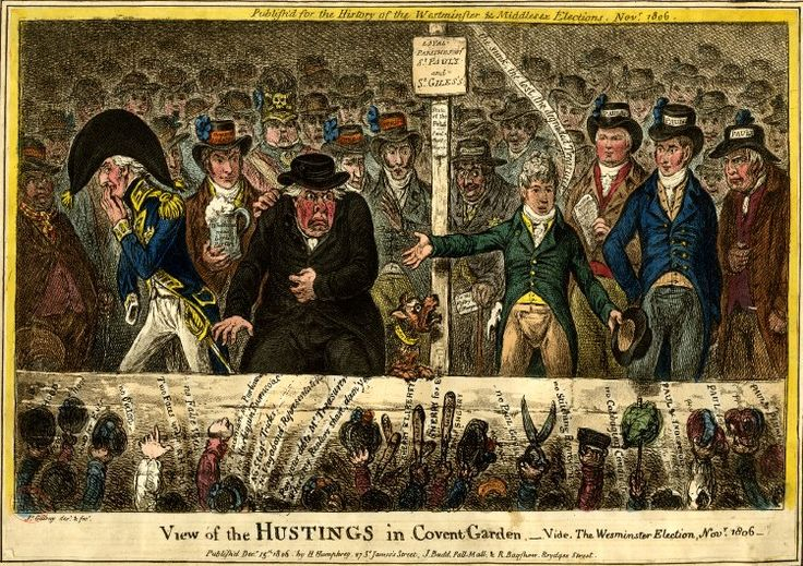 A view of the hustings at Covent Garden during the Westminster election, November 1806. (Hustings were meetings at which candidates addressed voters.)   Posted on Twitter https://twitter.com/D_Profundis/status/936903459197947906