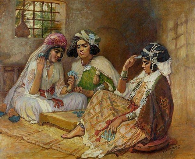لاعبات الورق,تقرت ،ديسمبر 1927 Joueuses de cartes ,Touggourt ,Dec 1927 Frédérick Arthur Bridgman ,Peintre Américain (1847_1928 ) #algerie #algeria #art #art #artwork #artofinstagram #paint #painting #oilpainting #الجزائر #الجزائر_المحمية_بالله #لوحات_فنية #لوحات_فنية_جزائرية#peinturedalgerie