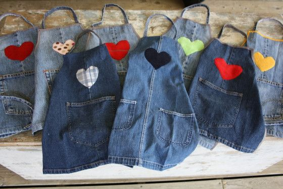 AWESOME IDEA for old jeans-to make a sturdy apron for messy play: repurposed denim aprons - happy hooligans - what to do with old jeans