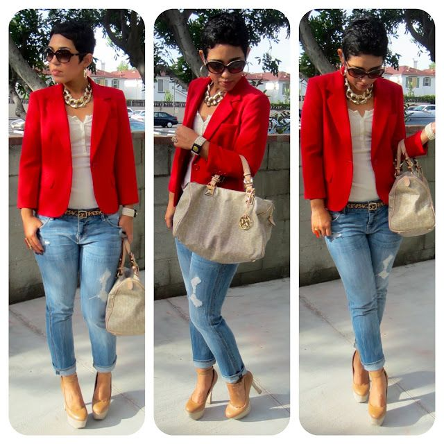 Red Blazer, boyfriend jeans, white tee, animal print belt and flats  (instead of heels).really cute!