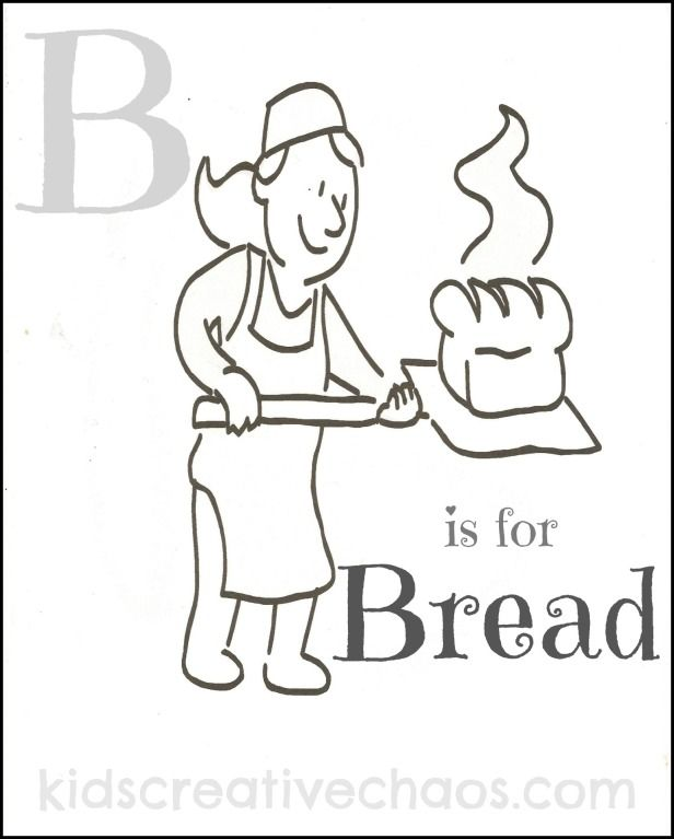 Alphabet Coloring pages for preschool kids letter B bread #coloringpageforletterB #kidscreativechaos