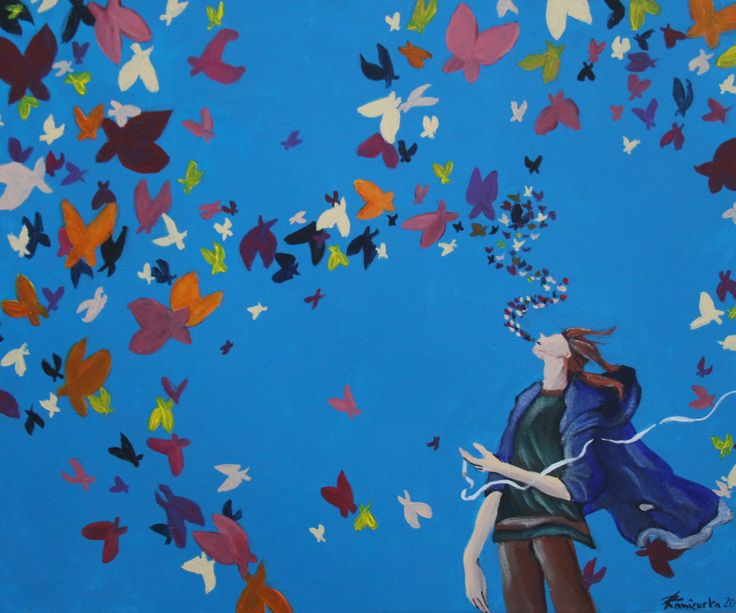 Smoking with color butterfly ( 50x60 , Akryl )