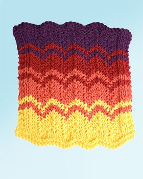 This gorgeous zigzag dishcloth will remind you of summer sunsets all year round! Shown in Lily Sugar 'n Cream.
