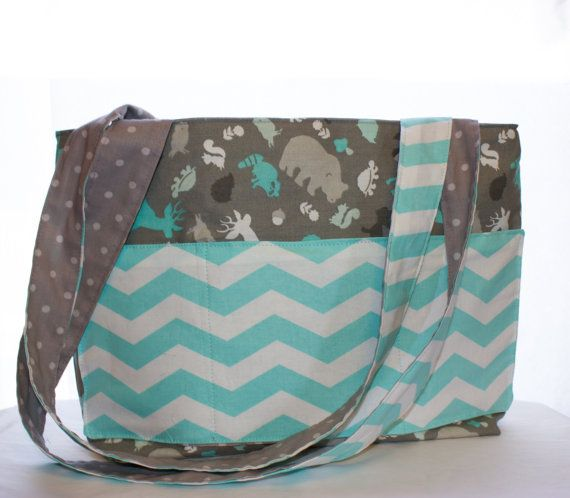 Gray Blue White Diaper Bag With Forest Animals Bears Deer Turtles Baby Shower Gift Boy Fever Bags