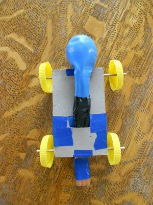 Make a balloon powered car using a small box (like a pop tart box). This hands-on science activity would pair well with any car book.
