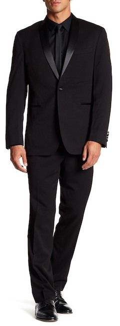 Kenneth Cole New York Black One Button Shawl Lapel Slim Fit Suit
