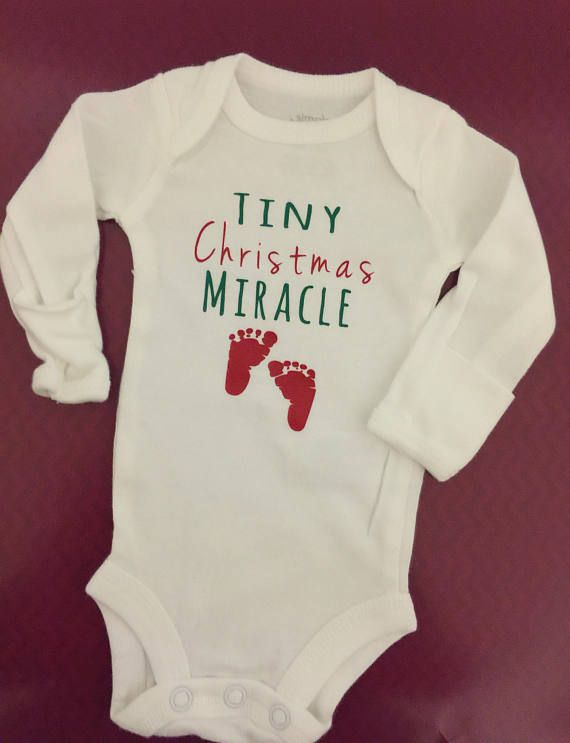 Preemie clothes / preemie girl clothes / preemie boy clothes / preemie christmas / funny preemie / preemie girl bodysuit / christmas onesie Tiny Christmas Miracle Custom Baby Onesie This listing is for one (1) baby onesie with the text Tiny Christmas Miracle. This onesie can be