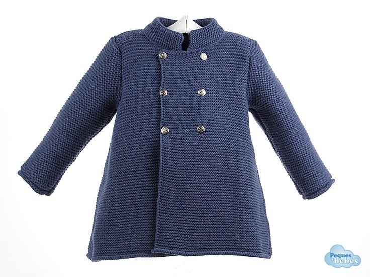 Abrigo de lana cruzadode bebé y niño hasta 2 años tejido en punto bobo con cuello mao http://www.pequesybebes.es/ropa-bebe-abrigos/284-abrigo-bebe-infantil.html