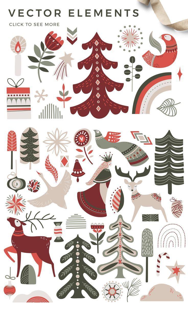 Nordic Winter Scandi Christmas Set Christmas Illustration Scandi Christmas Christmas Graphics