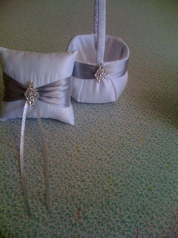 White and Silver Flower Girl Basket and by sashesforlove on Etsy, $29.00