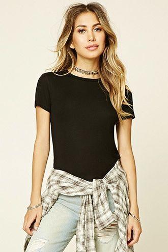 8db7967238635c Classic Ribbed Knit Tee | fashion/clothing | Fashion, Tops, Fashion outfits