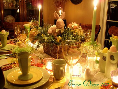 Easter table with candles lit